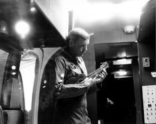 That's astronaut Neil Armstrong playing ukulele.